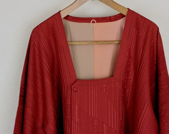 Vintage Kimono Coat, Silk coat, Vintage Japanese Kimono Coat, kimono Coat, Michiyuki, antique Kimono, Deep red Kimono, Red Silk kimono