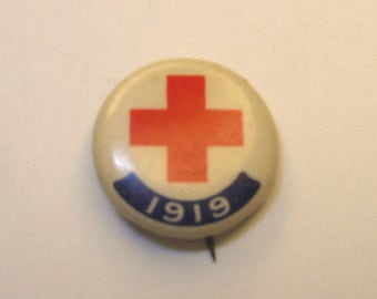 Vintage 1919 Red Cross Button Pin