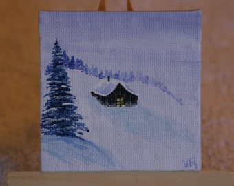 Cabin in the Snow mini painting, Christmas, Magnet, Ornament, Gift