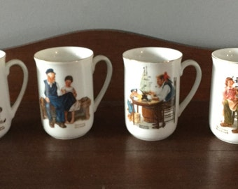 "Set of Four ""Norman Rockwell Museum"" Collectible Coffee Mugs"