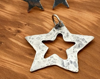 Silver Star pendant on sterling silver snake necklace, Star necklace, gift for her, hammered silver, handmade, Birthday gift,