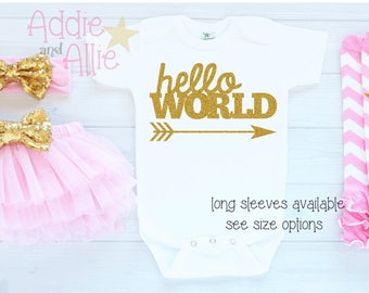 Newborn Girl Outfit Coming Home Outfit Baby Girl Clothes Take Home Outfit Girl Hello World Baby Girl Pink and Gold Baby Girl Outfit T4P