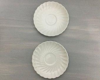 White Ironstone English Johnson Brothers Plates Saucers Vintage Regency Scalloped Swirl Set of 2