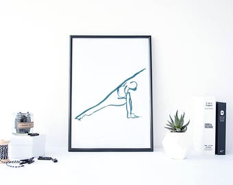 Yoga art print, Extended side angle yoga pose art print,Parsvakonasana  yoga artwork, yoga decor