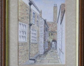 A Watercolour of a Whitby Yard by Ron Dodds.