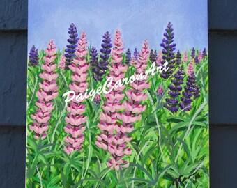 Spring Lupins- Original Acrylic Painting 8x10