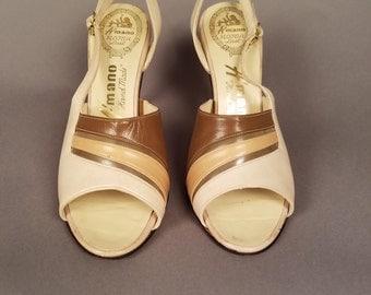 1950's Vintage Cream Slingback Heels