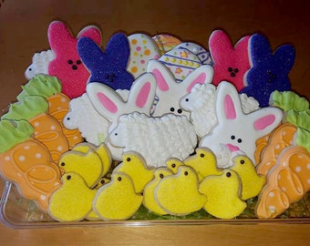 Easter Cookies - Decorated Cookie - Decorated spring Cookies - Sugar Cookies - Decorated Sugar Cookies - Bunny - chick - peeps-carrots