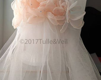 Cathedral, single tier plain veil - Rose