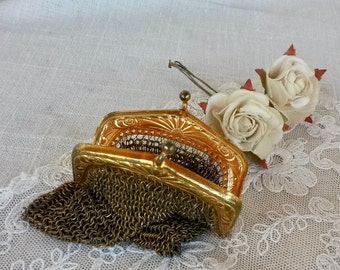 Gold Mesh Purse, Mesh Chain Purse, Vintage Gold Chain Purse, Vintage Coin Purse, Mesh Coin Purse
