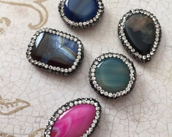 Qty5 Unique Dyed Natural Agate Beads with Czech Rinestones, Mixed Shape, Mixed Colors, Beautiful