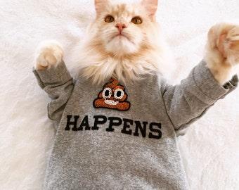 Poop Happens Pet Sweatshirt-emoji sweatshirt, poop emoji