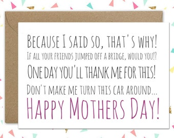 Mother's day card // Things Mums say // Funny mother's day card // Thank you Mum // Mum phrases //