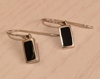 Black Onyx and Sterling Silver Earrings  Marked 925
