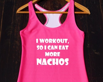 I Workout So I Can Eat More Nachos, Funny Gym Shirt, Mens Workout Shirt, Mens Muscle Tank Top, Nachos Shirt, Fitness Tank Top