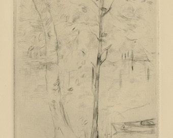 """BERTHE MORISOT (French, 1841-1985), """"Jardin de Mezy / Bord du Lac"""", 1888, drypoint"""