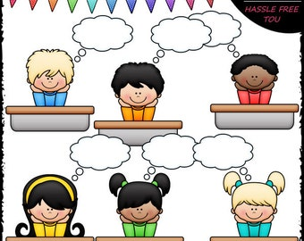 Thought Bubble Students Clip Art and B&W Set