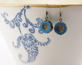Blue cornflowers earrings