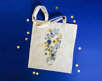 Tote bag MIMOSA / design cotton bag / handbag flower / shopping bag / tote bag Green / clear canvas bag / beach bag
