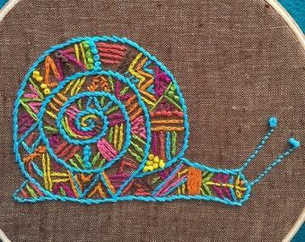 Snail,Hand Embroidery Modern Snail,Embroidery Hoop,Hoop Art,Wall Art,Stitch Art,Door Art.