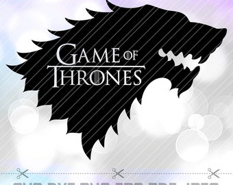 Game of thrones SVG DXF PDF Eps Png Vector Cut Files Dire Wolf Stark for Silhouette Studio Cameo Cricut Space Design Stencil Vinyl Tshirt