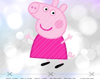 Peppa Pig SVG DXF Png Vector Cut File Cricut Designs Silhouette Cameo Birthday Party Decorations Vinyl Tshirt Decal Stencil Transfer Iron on