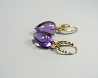 SALE 20% off. SALE, 14k solid gold amethyst Earrings, 14k Yellow gold Earrings, 14k  Solid gold , dangle Earrings, Lever-Back Earrings.