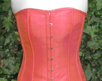 Coral Lily Silk Corset, Overbust Boned, Front Busks and Ribbon Lacing at the Back