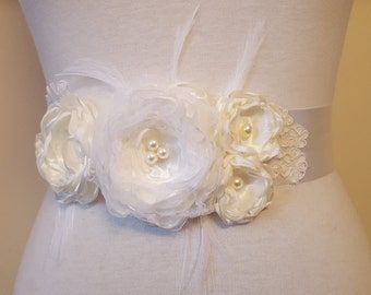 Wedding sash, Floral sash, Bridal floral sash, Wedding dress belt