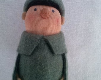 Good Soldier Švejk Figurine // Vintage Good Soldier Schweik Felt Puppet