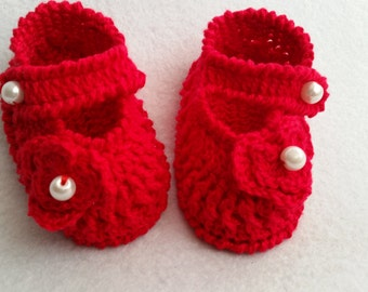 lucky red baby girl booties