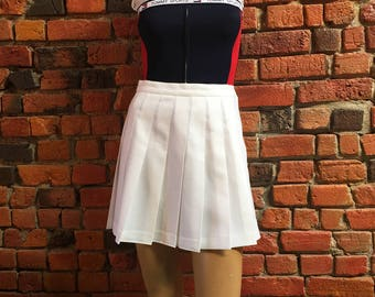 Women's 90s Reebok White Pleated Tennis Mini Skirt Size Small Medium