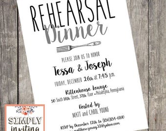 Simplicity Rehearsal Dinner Invitation, Printed Cards, Typography, Modern, Fork Design, Celebration, Wedding Rehearsal, Dinner Party Invite