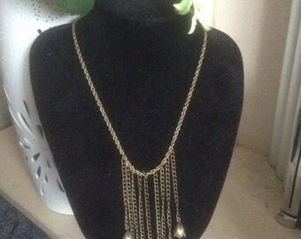 Art Deco Faux Pearl Brass Bib Necklace