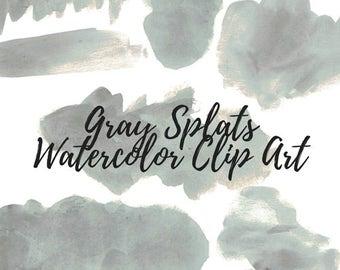 Watercolor splash - Gray Watercolor splash - Grey blobs - Watercolor Paint blobs - Watercolor clip art - Paint Brush Commercial Use