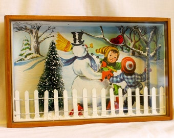 SALE Now 20% off Vintage Hanging Frosty And Friends Shadowbox
