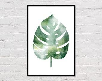 Monstera Leaf Print, Monstera Print, Tropical Poster, Botanical Printable, Green Leaf Print, Wall Art, Botanical Art, Digital Download