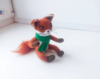 Faux taxidermy needle felted fox weird taxidermy weird home decor gothic decor needle felted animal meme gifts stoned fox bad taxidermy geek