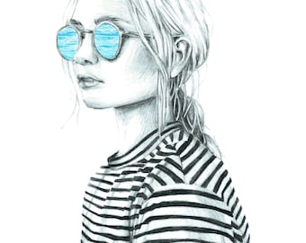 The sea in your eyes - Art drawing portrait print illustration