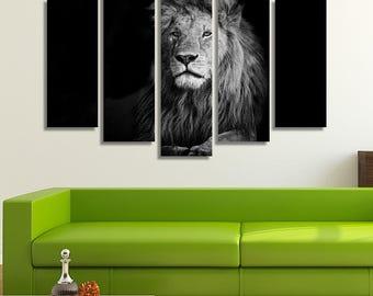 LARGE XL Black and White Lion Canvas Print Calm Lion in Masai Mara, Kenya Canvas Lion Mane Wall Art Print Home Decoration - Stretched