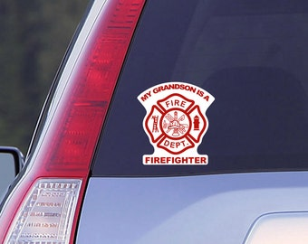 My Grandson is a Firefighter Car Window Decal, Firefighter Decal, Car Decal