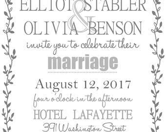 Grey Vine Wedding Invitation w/ RSVP