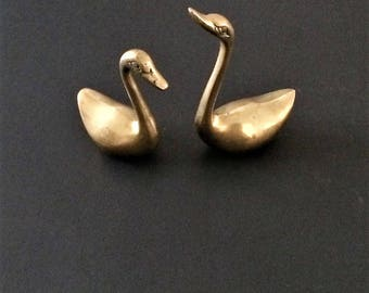 Solid Brass Swans, Vintage Brass, Swan Set of Two, Brass Decor, Swan Decor, Bird Decor, Brass Ring Holder, Office Decor, Brass Collectible