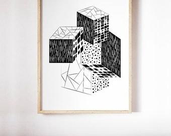 CUBES Art Print, Black and White Modern Wall Art, Monochrome Geometric Print, Cubes Poster, Printable Digital Art, Minimalist Home Decor