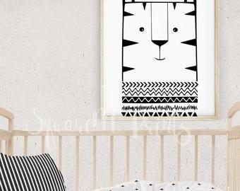 Kids Wall Decor, Lion Nursery Art, Black and White Baby Room Decor, Aztec Lion Wall Art, Jungle Nursery Decor, Download Art for Boys Room