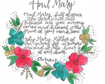 Handmade Hail Mary Prayer Card