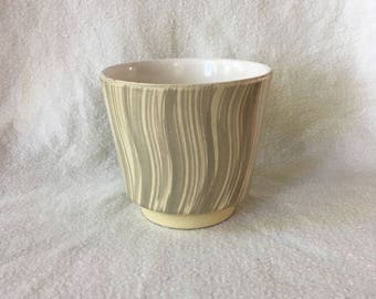 Vintage flower pot, cream pale yellow with soft grey stripes