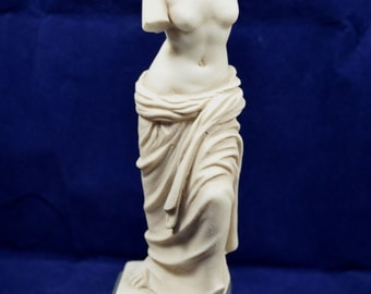 Aphrodite sculpture Venus Alabaster Goddess of love and beauty on base aged statue