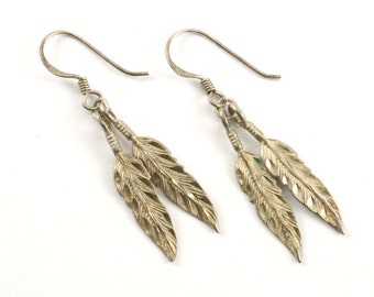 Vintage DMD Signed Feather Drop Dangle Earrings Sterling Silver ER 308