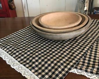 Farmhouse Table Runner/  Black and Tan Check  / Primitive Table Runner/  Handmade Runner Make Do